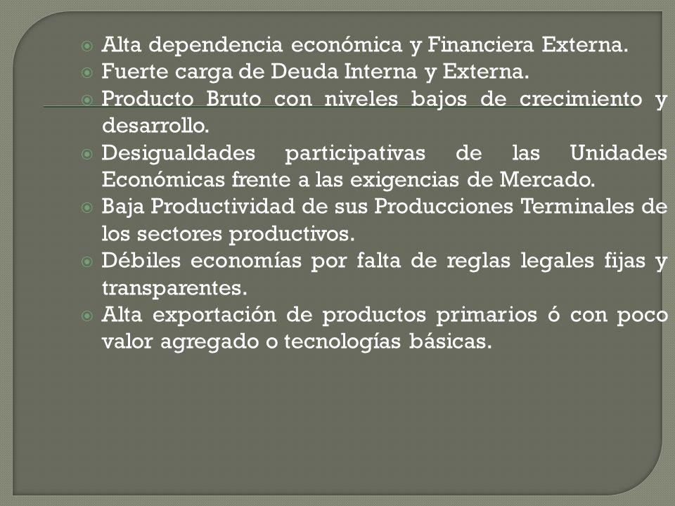 Alta dependencia económica y Financiera Externa.