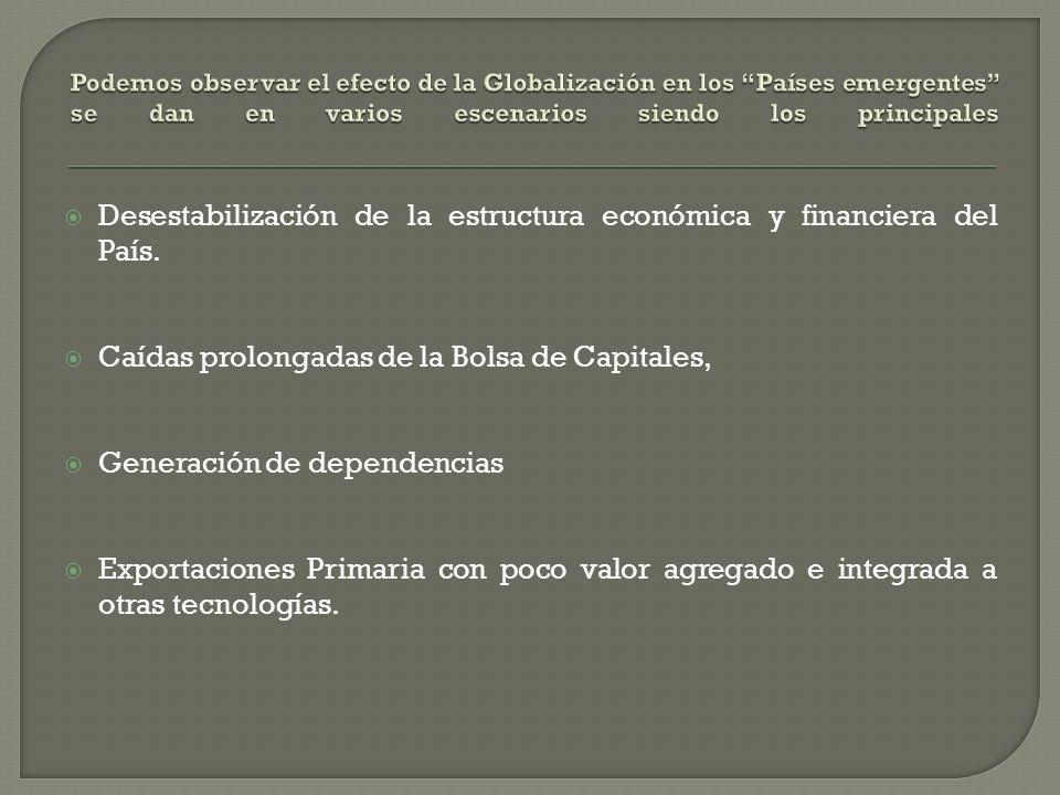 Desestabilización de la estructura económica y financiera del País.