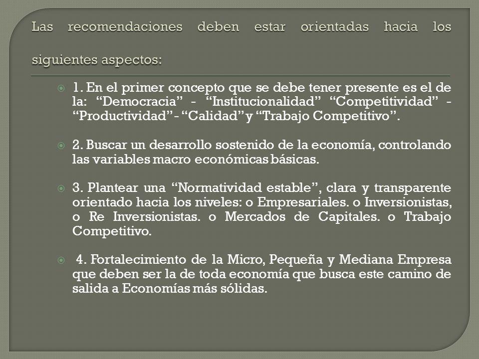 Las recomendaciones deben estar orientadas hacia los siguientes aspectos: