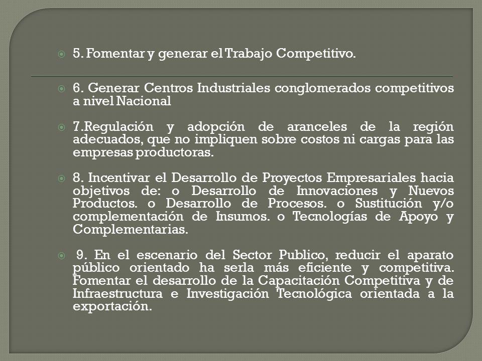 5. Fomentar y generar el Trabajo Competitivo.