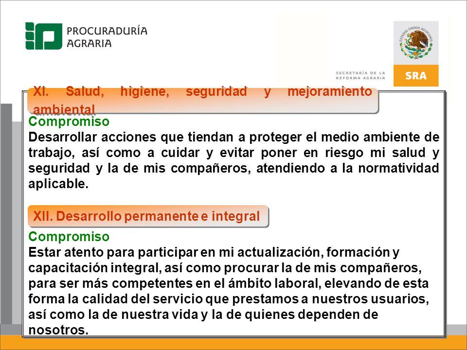 XI. Salud, higiene, seguridad y mejoramiento ambiental
