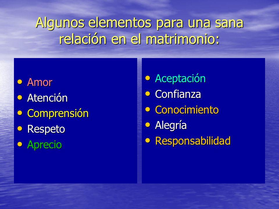 Algunos elementos para una sana relación en el matrimonio: