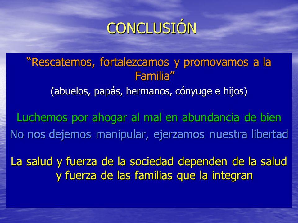 CONCLUSIÓN Rescatemos, fortalezcamos y promovamos a la Familia