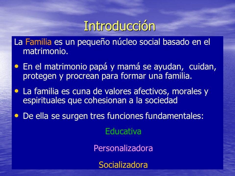 Introducción La Familia es un pequeño núcleo social basado en el matrimonio.