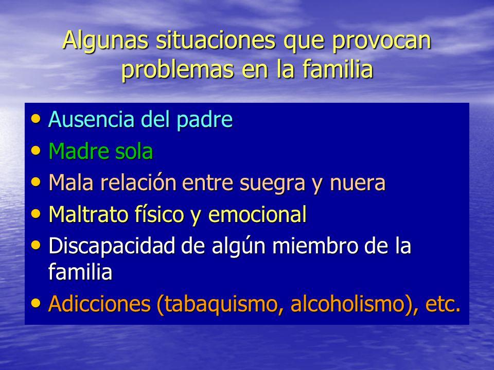 Algunas situaciones que provocan problemas en la familia