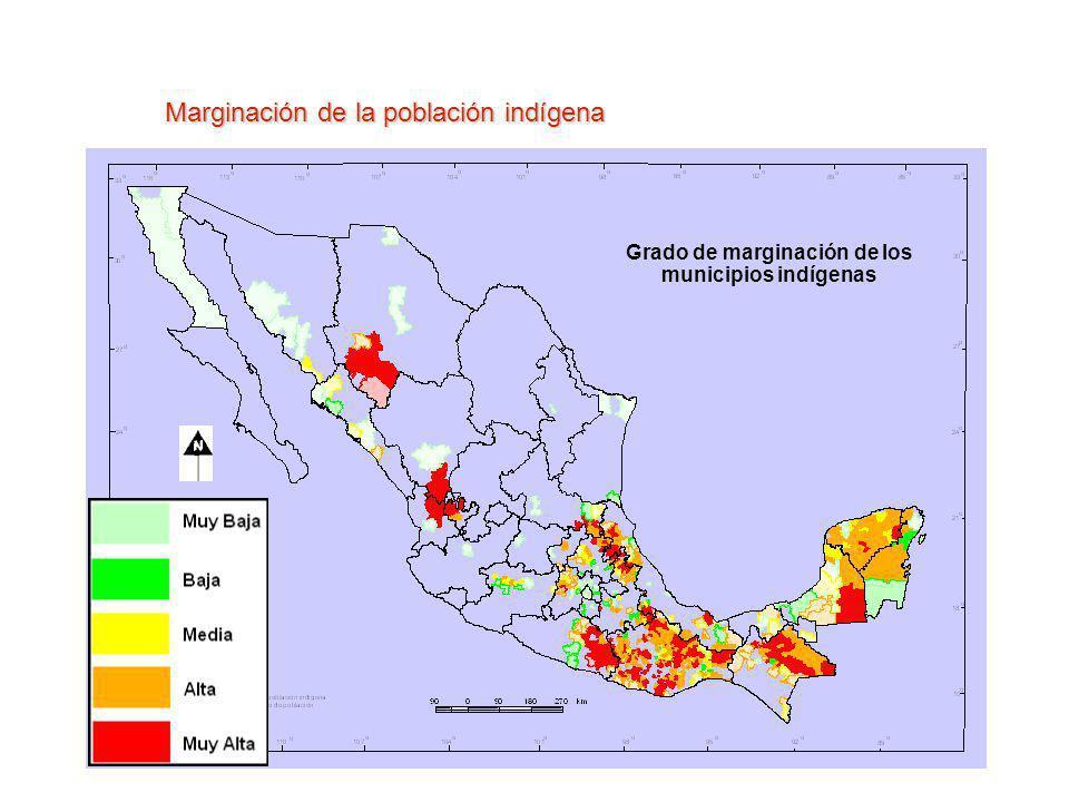 Grado de marginación de los municipios indígenas