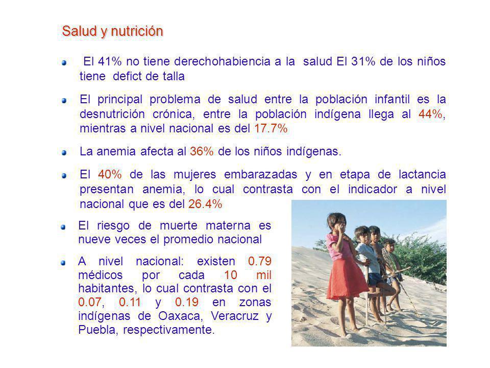 Salud y nutrición El 41% no tiene derechohabiencia a la salud El 31% de los niños tiene defict de talla.