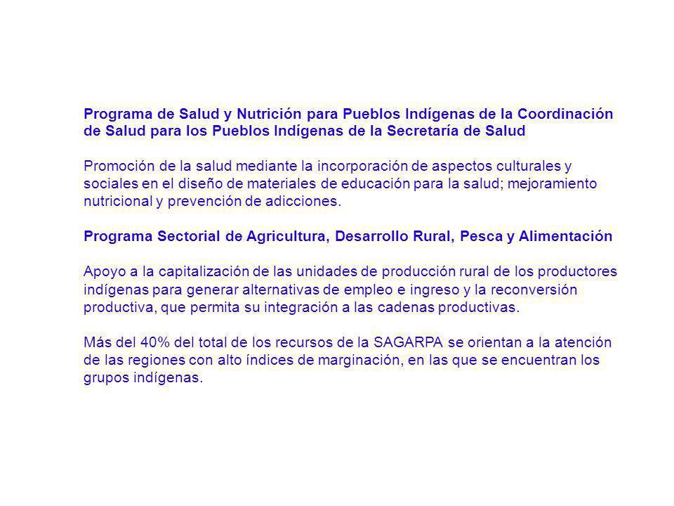 Programa de Salud y Nutrición para Pueblos Indígenas de la Coordinación de Salud para los Pueblos Indígenas de la Secretaría de Salud