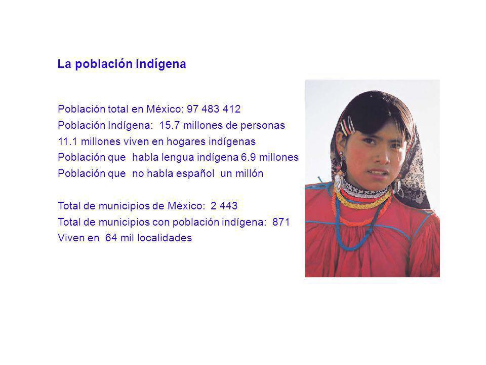La población indígena Población total en México: 97 483 412