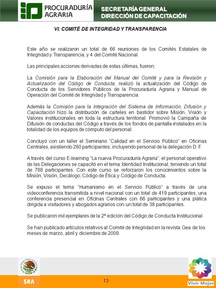 VI. COMITÉ DE INTEGRIDAD Y TRANSPARENCIA