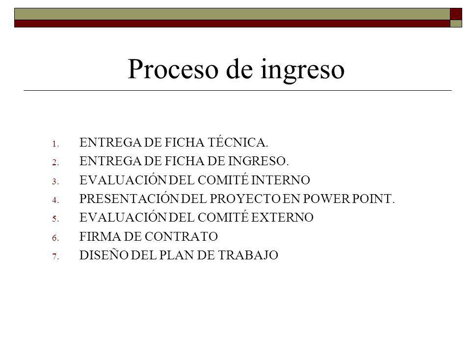 Proceso de ingreso ENTREGA DE FICHA TÉCNICA.