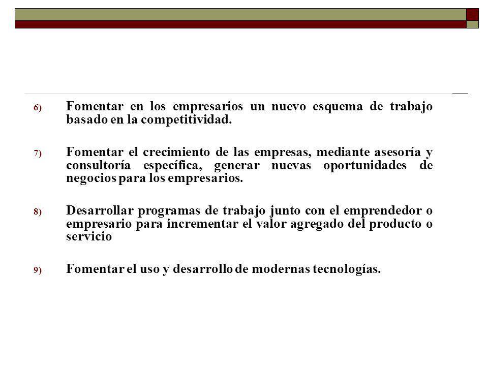 Fomentar en los empresarios un nuevo esquema de trabajo basado en la competitividad.