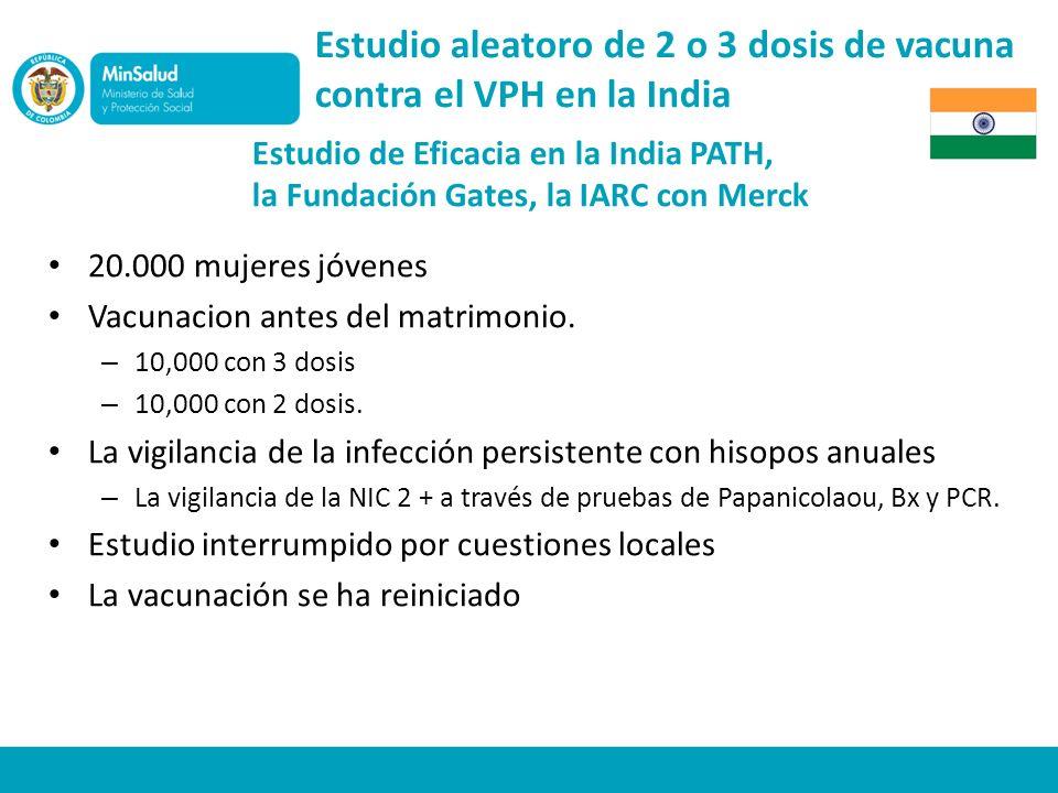 Estudio aleatoro de 2 o 3 dosis de vacuna contra el VPH en la India