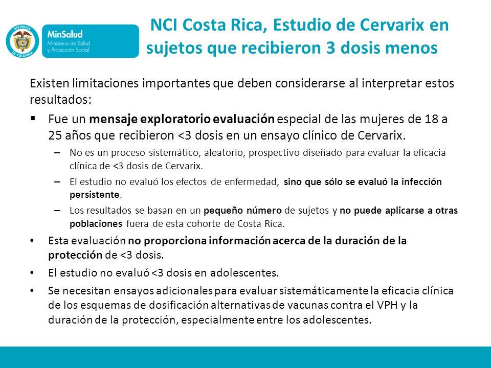 NCI Costa Rica, Estudio de Cervarix en sujetos que recibieron 3 dosis menos