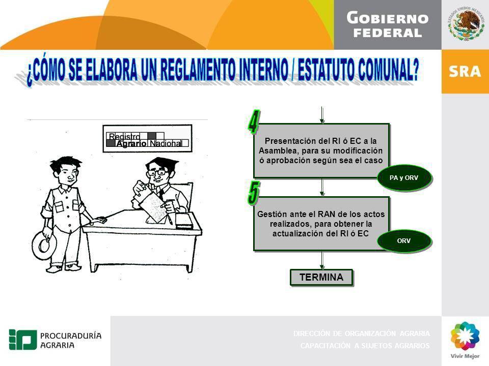 4 5 ¿CÓMO SE ELABORA UN REGLAMENTO INTERNO / ESTATUTO COMUNAL TERMINA