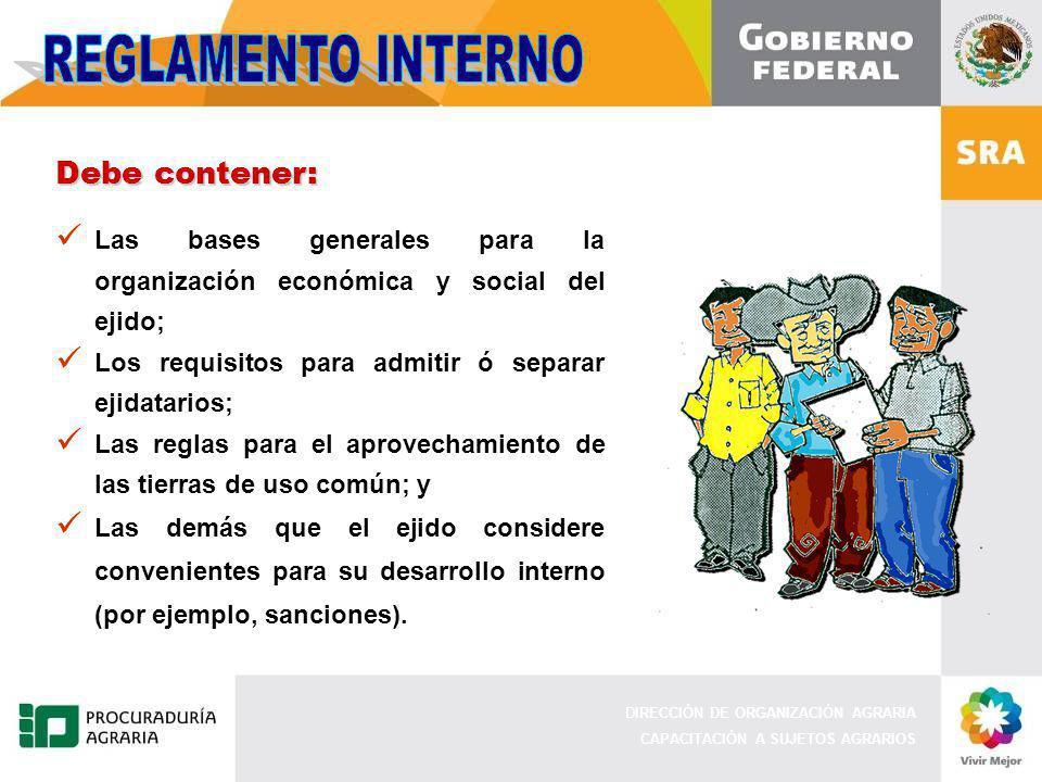 REGLAMENTO INTERNO Debe contener: