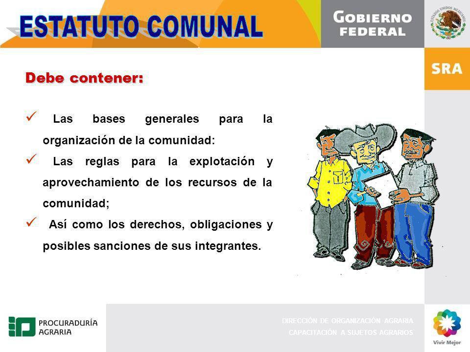 ESTATUTO COMUNAL Debe contener: