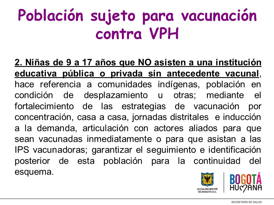 Población sujeto para vacunación contra VPH