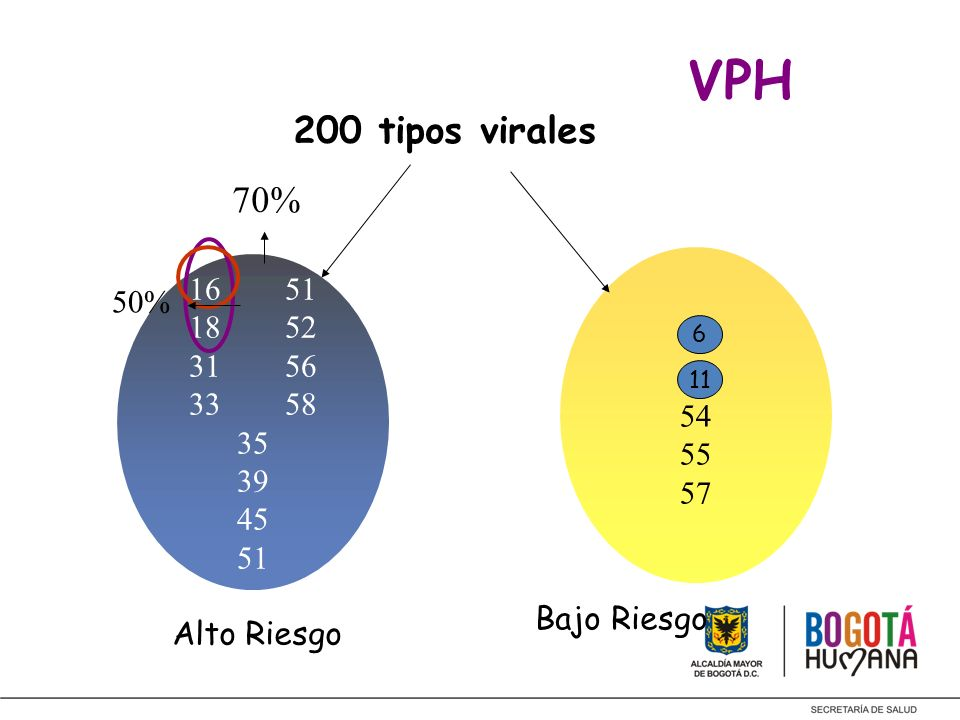VPH 200 tipos virales. 70% 6. 11. 54. 55. 57. 16 51. 18 52. 31 56. 33 58. 35. 39. 45. 51.