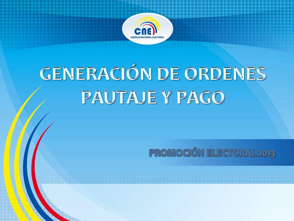 GENERACIÓN DE ORDENES PAUTAJE Y PAGO