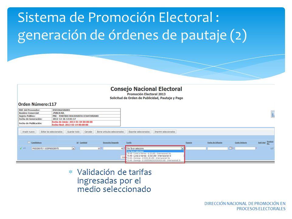 Sistema de Promoción Electoral : generación de órdenes de pautaje (2)