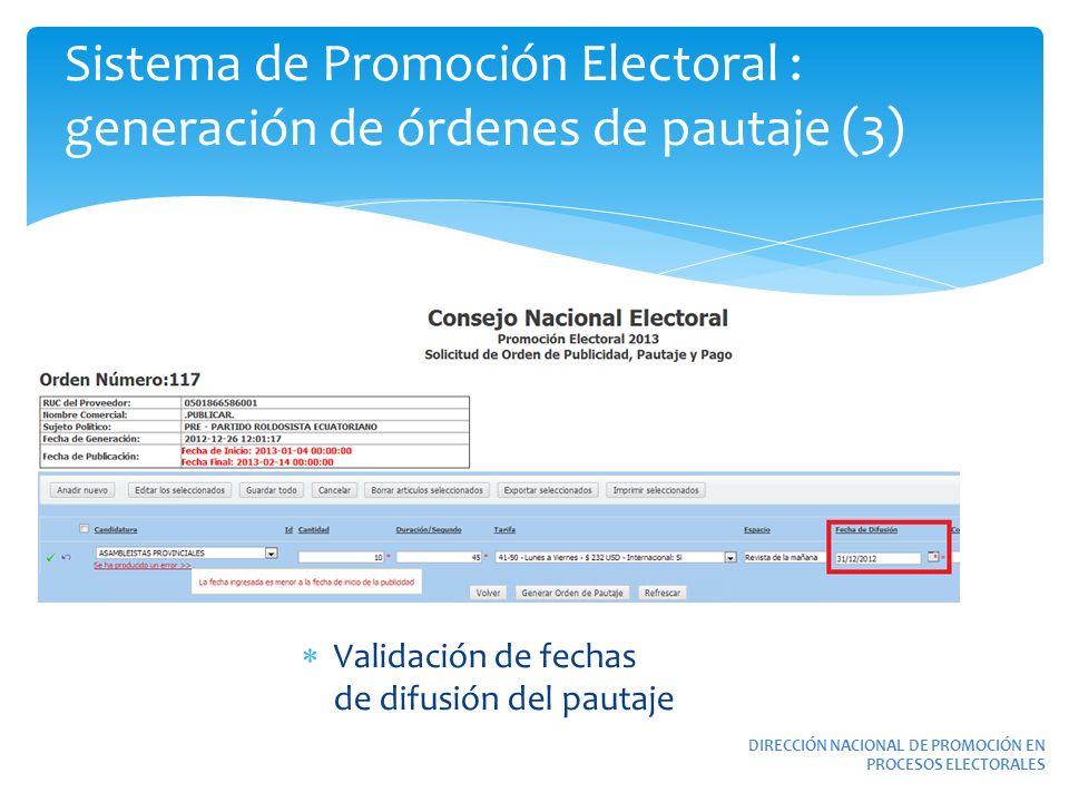Sistema de Promoción Electoral : generación de órdenes de pautaje (3)