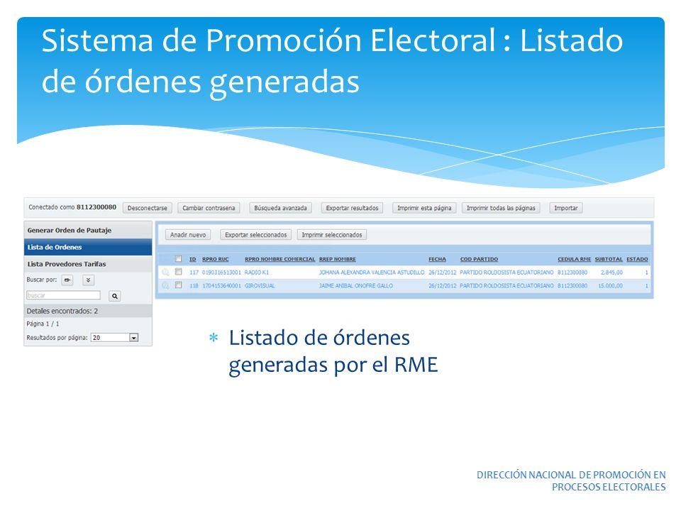 Sistema de Promoción Electoral : Listado de órdenes generadas