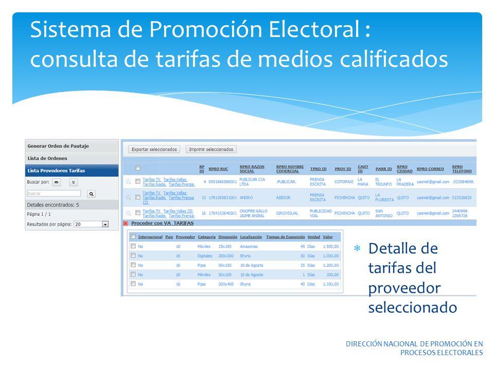 Sistema de Promoción Electoral : consulta de tarifas de medios calificados