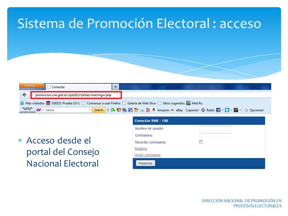 Sistema de Promoción Electoral : acceso