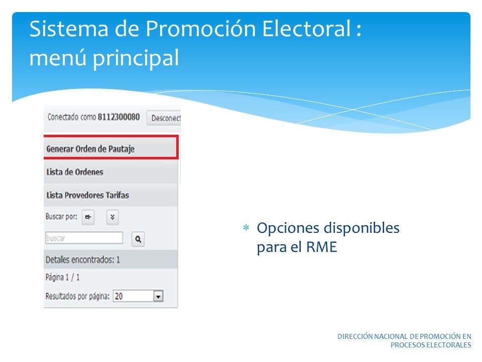 Sistema de Promoción Electoral : menú principal