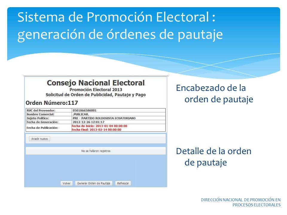 Sistema de Promoción Electoral : generación de órdenes de pautaje