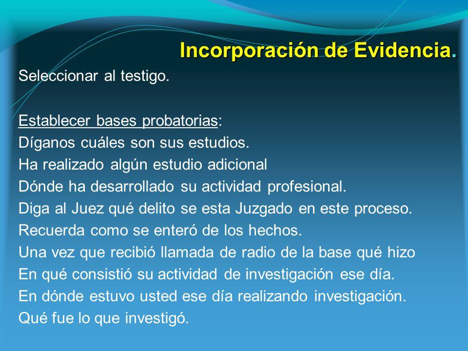 Incorporación de Evidencia.