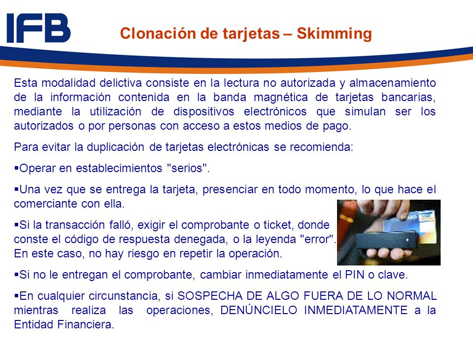 Clonación de tarjetas – Skimming