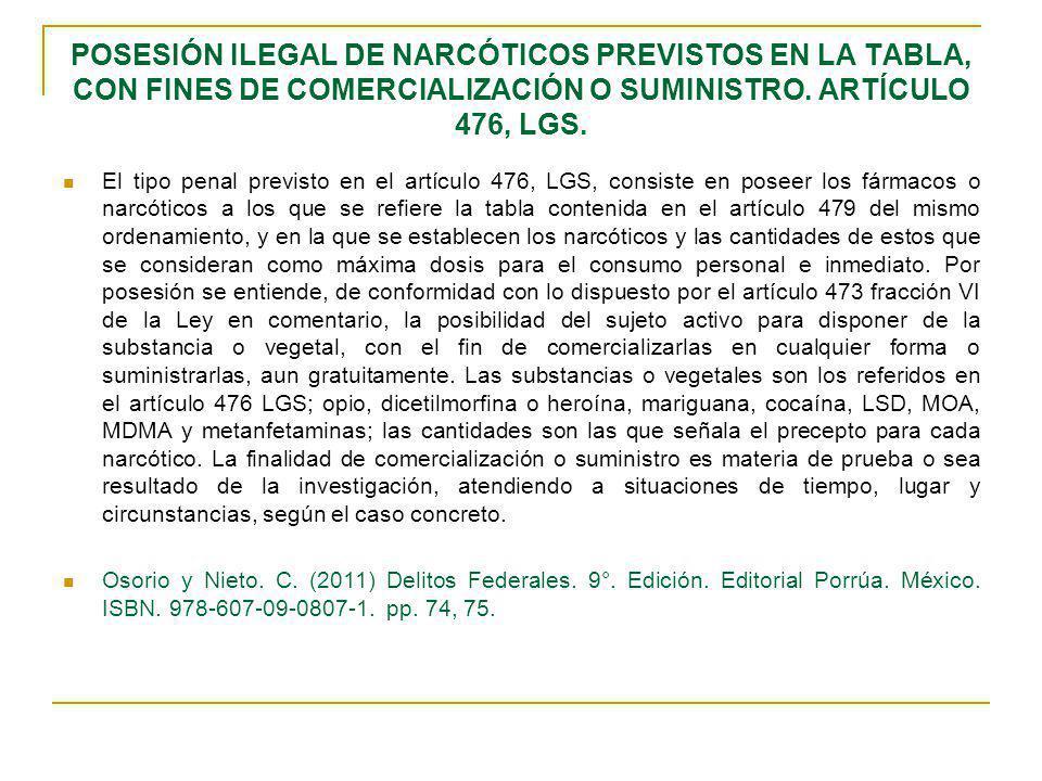 POSESIÓN ILEGAL DE NARCÓTICOS PREVISTOS EN LA TABLA, CON FINES DE COMERCIALIZACIÓN O SUMINISTRO. ARTÍCULO 476, LGS.