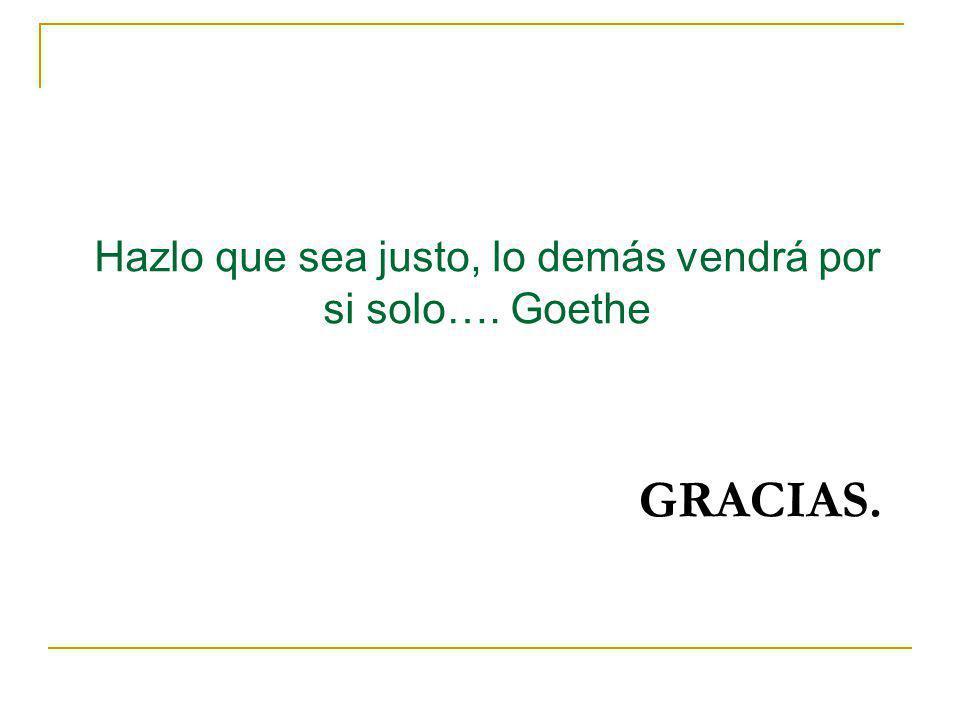 Hazlo que sea justo, lo demás vendrá por si solo…. Goethe