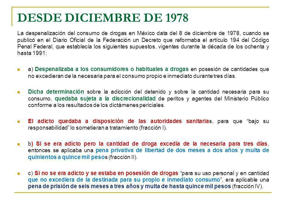 DESDE DICIEMBRE DE 1978