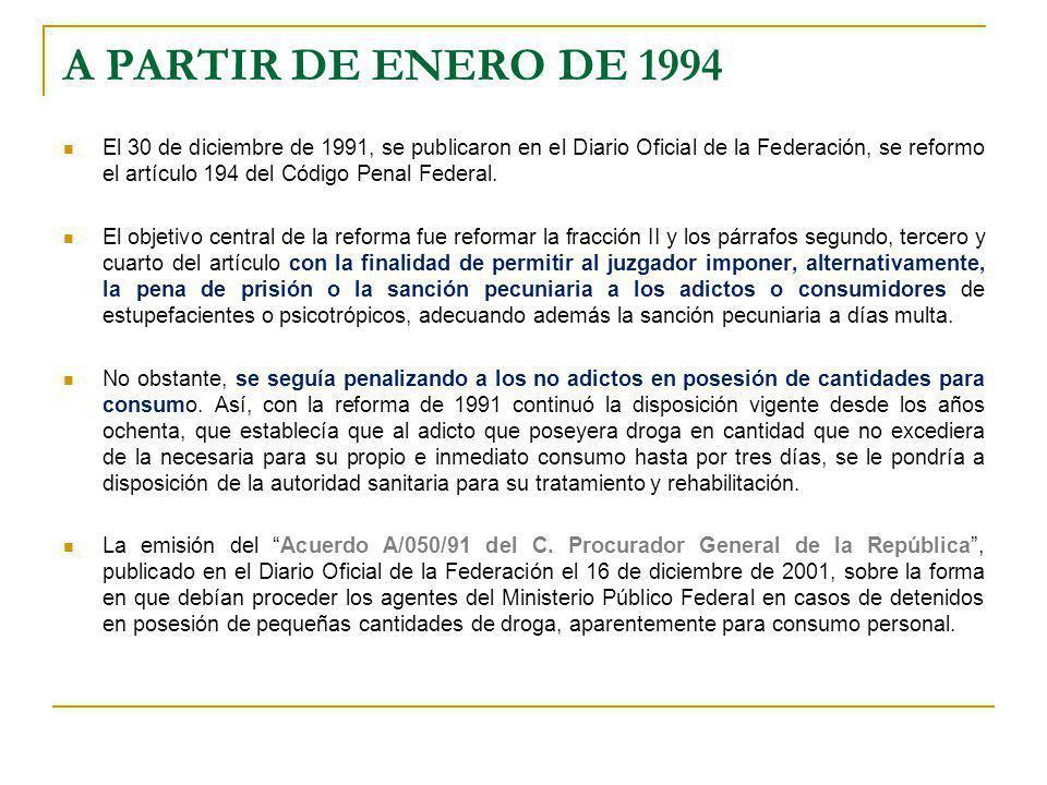 A PARTIR DE ENERO DE 1994