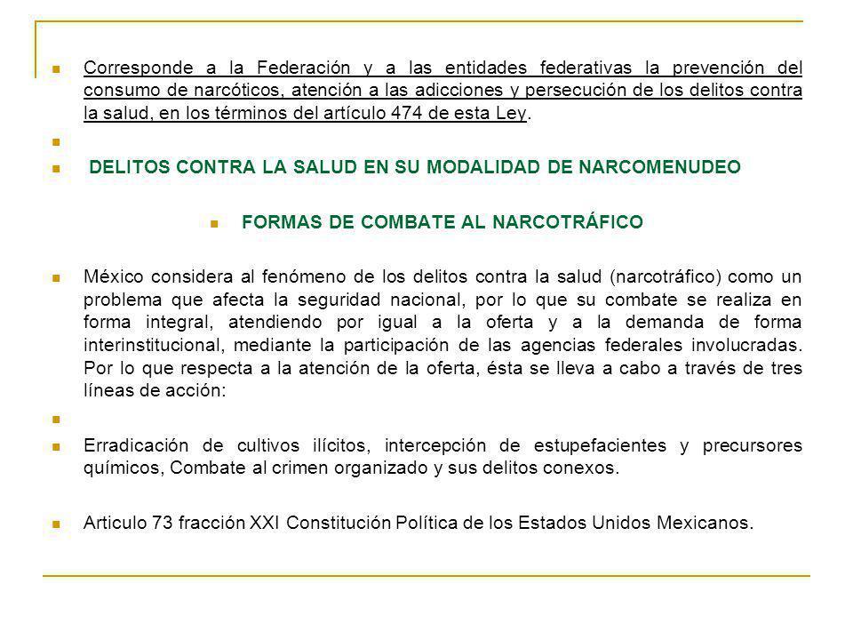 FORMAS DE COMBATE AL NARCOTRÁFICO