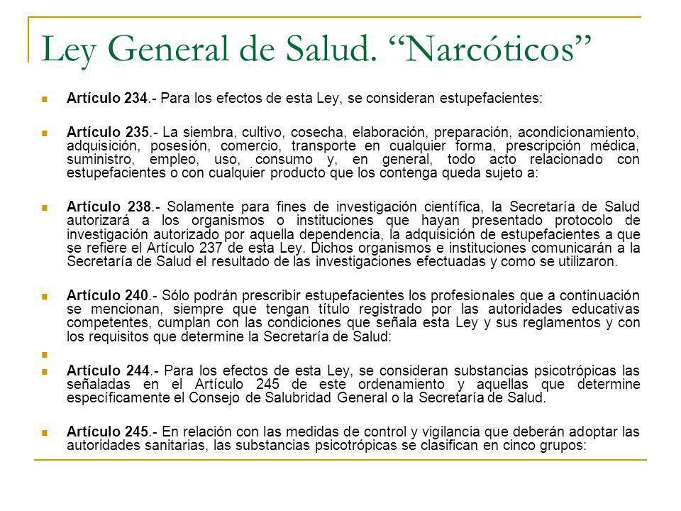 Ley General de Salud. Narcóticos