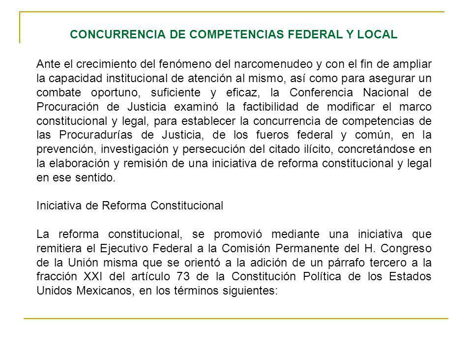 CONCURRENCIA DE COMPETENCIAS FEDERAL Y LOCAL