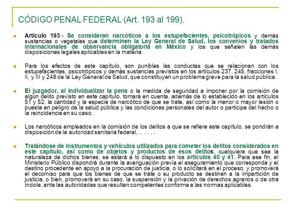 CÓDIGO PENAL FEDERAL (Art. 193 al 199).