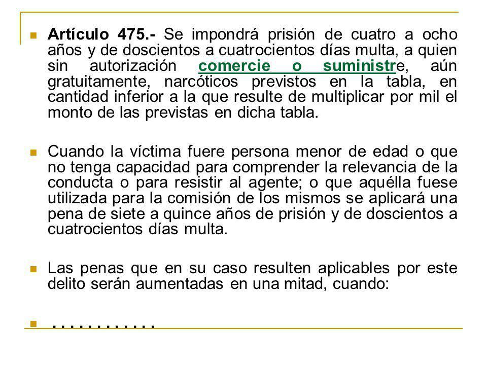 Artículo 475.- Se impondrá prisión de cuatro a ocho años y de doscientos a cuatrocientos días multa, a quien sin autorización comercie o suministre, aún gratuitamente, narcóticos previstos en la tabla, en cantidad inferior a la que resulte de multiplicar por mil el monto de las previstas en dicha tabla.