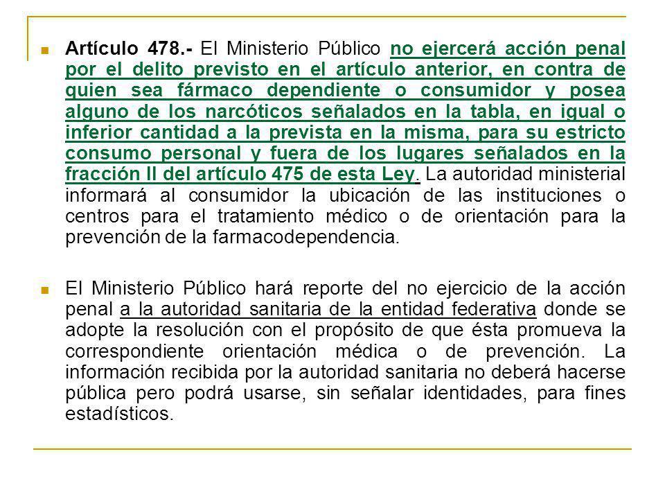 Artículo 478.- El Ministerio Público no ejercerá acción penal por el delito previsto en el artículo anterior, en contra de quien sea fármaco dependiente o consumidor y posea alguno de los narcóticos señalados en la tabla, en igual o inferior cantidad a la prevista en la misma, para su estricto consumo personal y fuera de los lugares señalados en la fracción II del artículo 475 de esta Ley. La autoridad ministerial informará al consumidor la ubicación de las instituciones o centros para el tratamiento médico o de orientación para la prevención de la farmacodependencia.