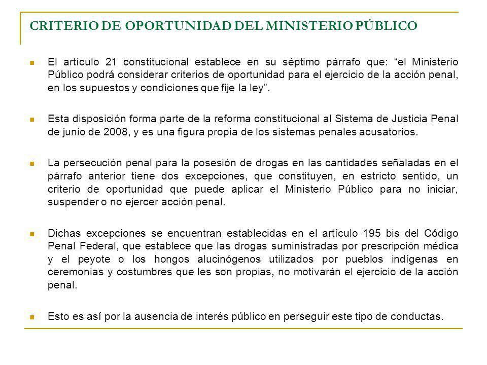 CRITERIO DE OPORTUNIDAD DEL MINISTERIO PÚBLICO