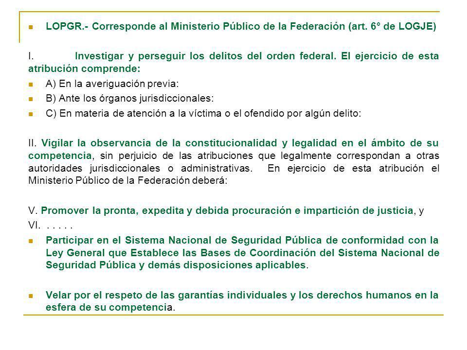 LOPGR. - Corresponde al Ministerio Público de la Federación (art