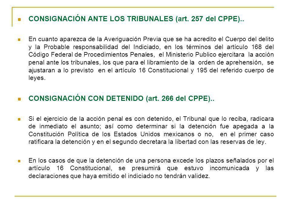 CONSIGNACIÓN ANTE LOS TRIBUNALES (art. 257 del CPPE)..