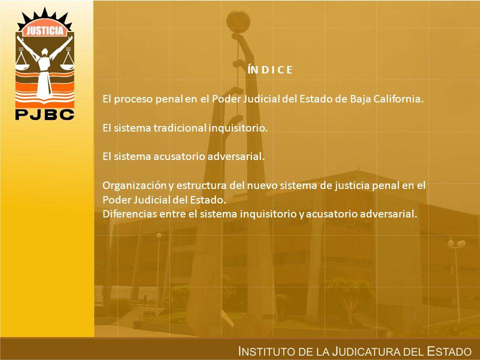 ÍN D I C E El proceso penal en el Poder Judicial del Estado de Baja California. El sistema tradicional inquisitorio.