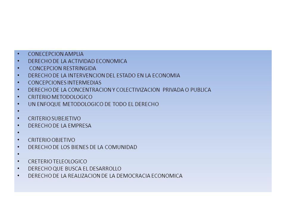 CONECEPCION AMPLIA DERECHO DE LA ACTIVIDAD ECONOMICA. CONCEPCION RESTRINGIDA. DERECHO DE LA INTERVENCION DEL ESTADO EN LA ECONOMIA.