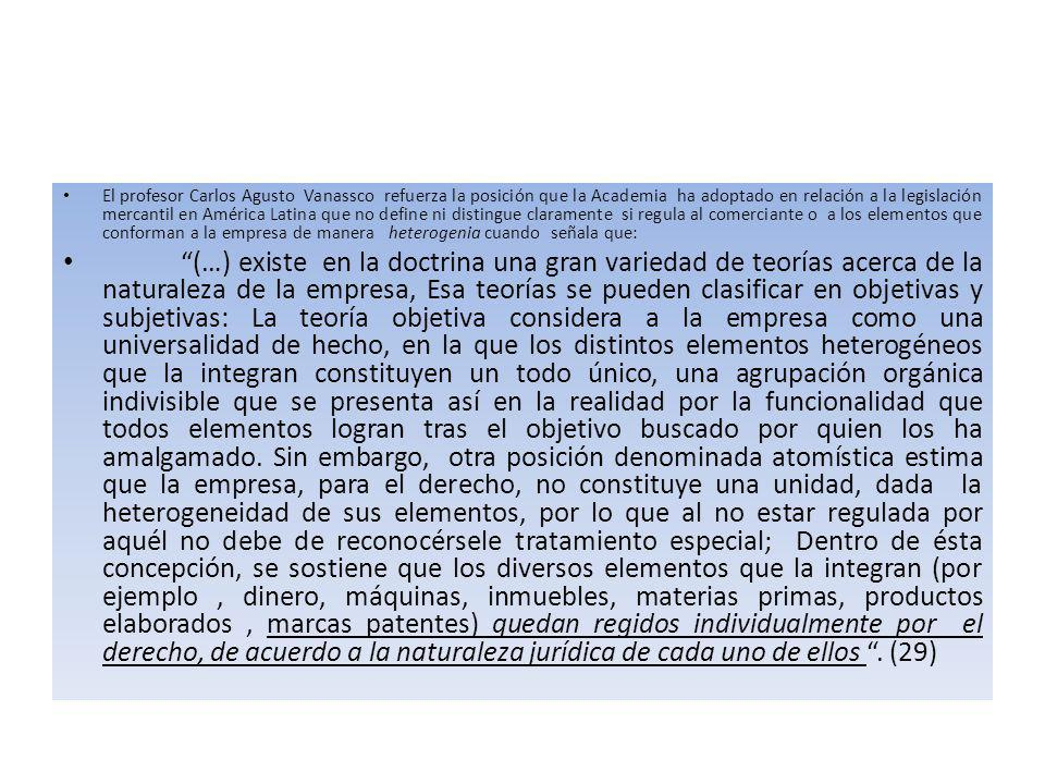El profesor Carlos Agusto Vanassco refuerza la posición que la Academia ha adoptado en relación a la legislación mercantil en América Latina que no define ni distingue claramente si regula al comerciante o a los elementos que conforman a la empresa de manera heterogenia cuando señala que: