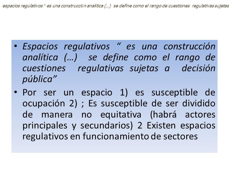 espacios regulativos es una construcción analítica (…) se define como el rango de cuestiones regulativas sujetas a decisión pública Op cit p 19; Por ser un espacio 1) es susceptible de ocupación 2) ; Es susceptible de ser dividido de manera no equitativa (habrá actores principales y secundarios) 2 Existen espacios regulativos en funcionamiento de sectores